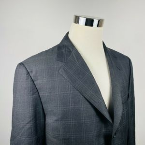 Canali 44R Sport Coat Gray Plaid Super 120s Wool